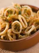 Calameres Frito- Deep Fried Squid Rings Stock Photos