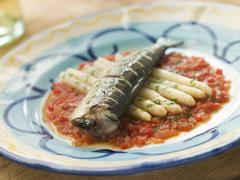 Grilled Sardines with White Asparagus and Roasted Red Pepper Salsa Stock Photos