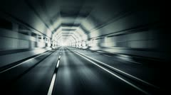 Road tunnel ride. Travel, transportation, highway and logistics background loop. - stock footage