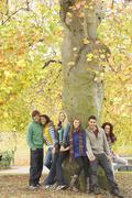 group of six teenage friends leaning against tree in autumn park - stock photo
