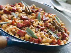 Chickpeas Chorizo Sausage and Sage - stock photo