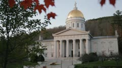 Vermont capitol building at dusk, Montpelier (pan) - stock footage