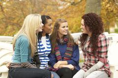Group of four teenage girls sitting and chatting on bench in autumn park Stock Photos