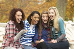 Group of four teenage girls sitting on bench in autumn park Stock Photos