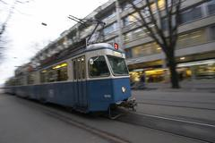 Stock Photo of public tram way zurich mobility rail traffic