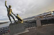 Landmark sight statue sunset ganymed in zurich Stock Photos