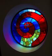 Church colorful glass window sight in brnbach Stock Photos