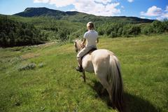 Woman outdoors riding horse in scenic location Stock Photos
