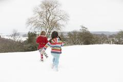 Group of children having fun in snowy countryside Stock Photos