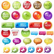 selling badges - stock illustration