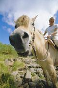Woman outdoors riding horse in scenic location (fisheye) - stock photo
