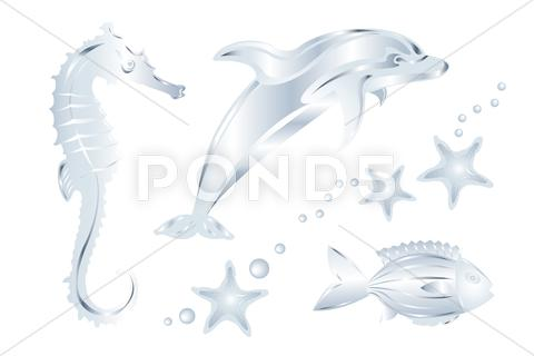 Stock Illustration of set of silver sea animals, isolated on white