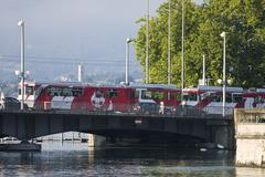 Bridge river tram tramway quai building rail Stock Photos
