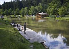 Water summer nature angler lake landscape poto Stock Photos