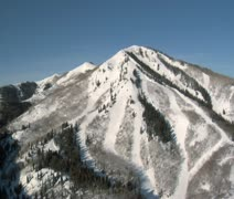 Aerial shot of ski area with snow Stock Footage