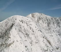 Aerial shot of snowy Ridge and Salt Lake Valley Stock Footage