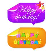 Sticker happy birthday Stock Illustration