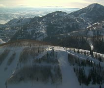 Aerial shot a deer Valley resort Utah Stock Footage