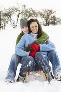 Couple sledging through snowy woodland Stock Photos