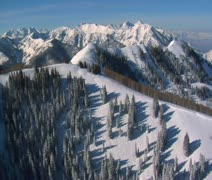 Stock Video Footage of aerial shot of big and little Cottonwood canyons Utah