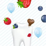 tooth and chewing gum - stock illustration