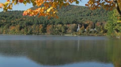 Crystal Lake autumn morning fog, Eaton, New Hampshire - stock footage