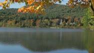 Stock Video Footage of Crystal Lake autumn morning fog, Eaton, New Hampshire