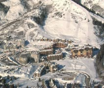 Aerial shot of the canyons resort Park city Utah Stock Footage