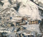 Stock Video Footage of aerial shot of the canyons resort Park city Utah