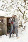 Nuori pari lumityöt polku puiset store Kuvituskuvat