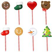 xmas color lollypops set - stock illustration