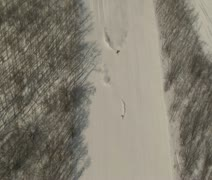 Aerial shot of skiers carving Stock Footage