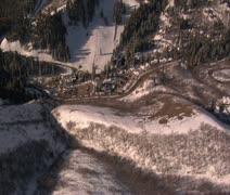 Aerial shot of Sundance resort, Utah with peaks Stock Footage