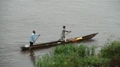 The Congo River with boats Stock Footage