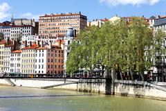 colorful buildings in the city of lyon - stock photo
