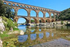 roman aqueduct pont du gard, languedoc, france. unesco site. - stock photo