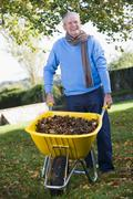 Man outdoors with wheelbarrow full of leaves smiling (selective focus) Stock Photos