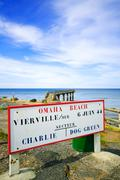 omaha beach world war normandy location signboard vierville sur mer - stock photo