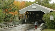 Stock Video Footage of Saco River covered bridge, Conway, New Hampshire