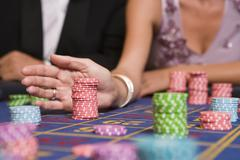 Chips on Roulette Table Stock Photos