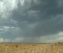 Stormy skies and lightning over wheat field Stock Footage
