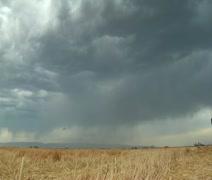Myrskyinen taivas ja salama yli vehnäpellolla Arkistovideo