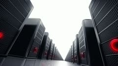 Data network center servers. Cloud computing, e-commerce upload download data.  Stock Footage