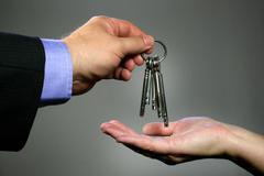 House logo apartment broker bunch keys clause Stock Photos