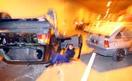 Car accident insurance danger dark discomfort Stock Photos