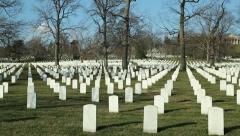 Arlington Cemetery tilt down sunny day Washington DC - stock footage