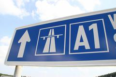 Technology road traffic settlement thing toll a1 Stock Photos