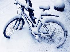 car winter bicycle cold deserted means transport - stock photo