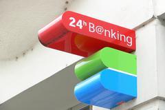 Book account bank transfer cashpoint client loan Stock Photos