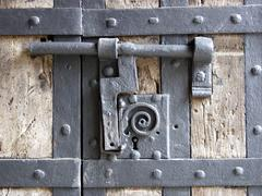 barricade chain completion door front fuse hours - stock photo